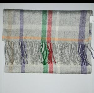 COACH GRAY PLAID WOOL AND CASHMERE SCARF